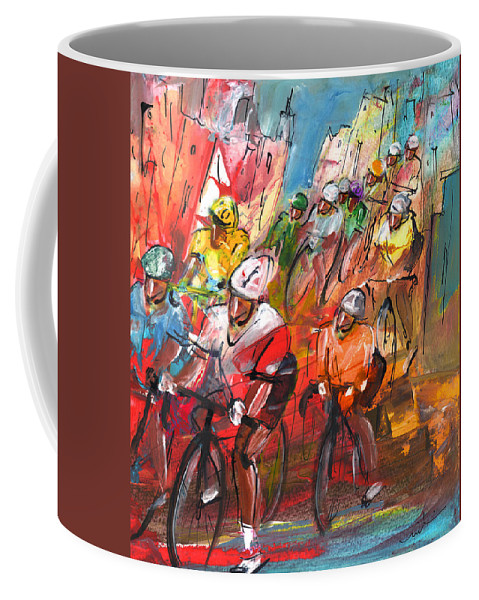 Sports Coffee Mug featuring the painting Le Tour De France Madness 04 by Miki De Goodaboom