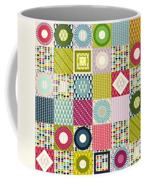 Leaf Coffee Mug featuring the drawing Leaf Squares by MGL Meiklejohn Graphics Licensing