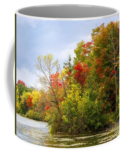 Autumn Coffee Mug featuring the photograph Leaning Into Autumn by Ann Horn