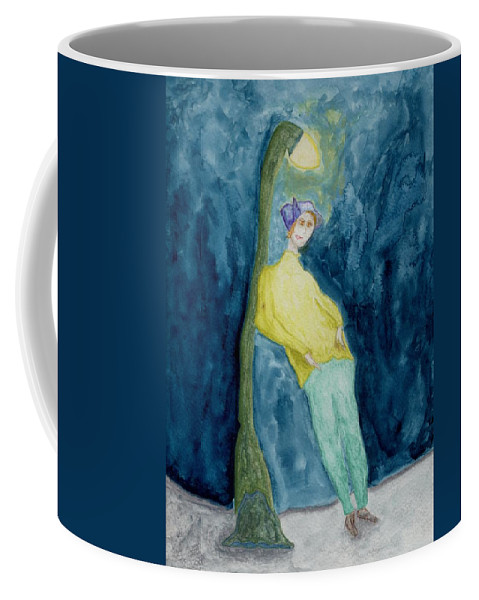 Jim Taylor Coffee Mug featuring the painting Leaning On The Lamp Post by Jim Taylor
