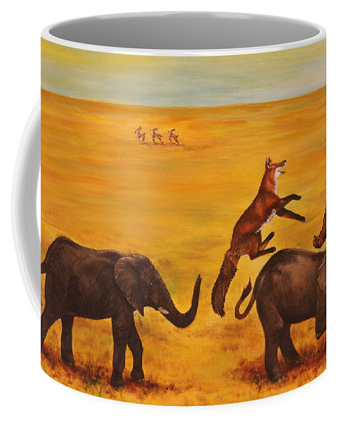 Fox Coffee Mug featuring the painting Leap Frog by Michelle Miron-Rebbe