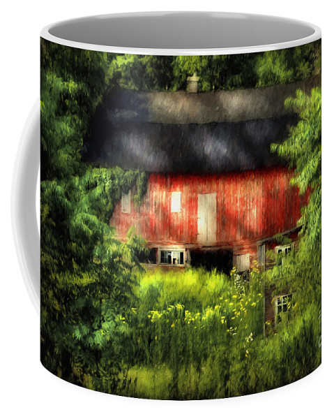 Barn Coffee Mug featuring the photograph Leave Our Farms by Lois Bryan