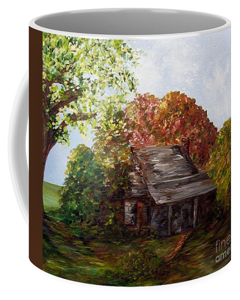 Log Coffee Mug featuring the painting Leaves On The Cabin Roof by Eloise Schneider