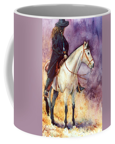 Gunfighter Coffee Mug featuring the painting Leavin' The Worst Behind by John Dougan