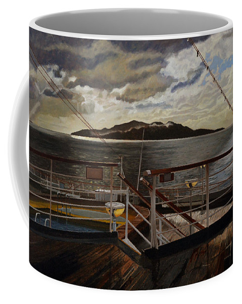 Queen Charlotte Sound Coffee Mug featuring the painting Leaving Queen Charlotte Sound by Thu Nguyen