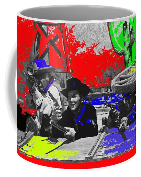 Leif Erickson Cameron Mitchell Mark Slade Number 2 The High Chaparral Set Old Tucson Arizona 1969 Color Added Upended Wagon Train Coffee Mug featuring the photograph Leif Erickson Cameron Mitchell Mark Slade Number 2 The High Chaparral Set Old Tucson Az 1969-2008 by David Lee Guss