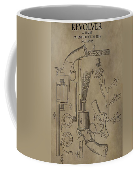 Lemat Revolver Patent Coffee Mug featuring the digital art Lemat Revolver Patent by Dan Sproul