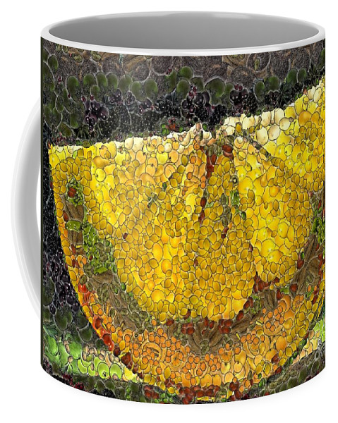 Fruits Coffee Mug featuring the digital art Lemon Slice by Dragica Micki Fortuna