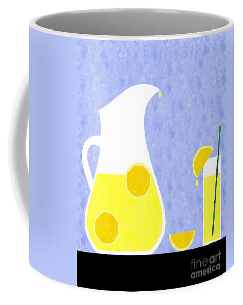 Lemonade Coffee Mug featuring the digital art Lemonade And Glass Blue by Andee Design