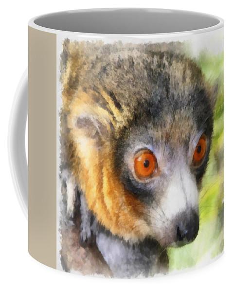 Aquarell Coffee Mug featuring the photograph Lemur 004 by Ingrid Smith-Johnsen