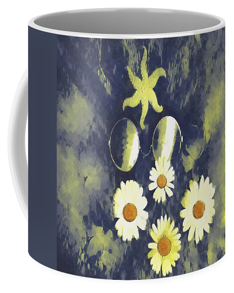 Spectacles Coffee Mug featuring the mixed media In The Gothic Night With Stars by Pepita Selles