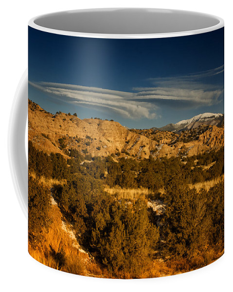 Lenticular Clouds Coffee Mug featuring the photograph Lenticular Clouds Near Tesuque Pueblo Nm by Greg Kluempers