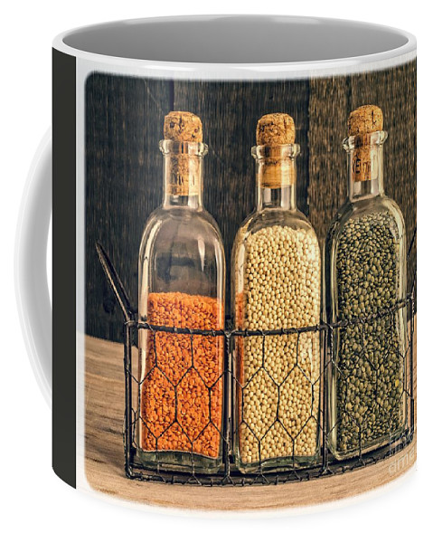Bottle Coffee Mug featuring the photograph Lentils - Kitchen Art by Edward Fielding