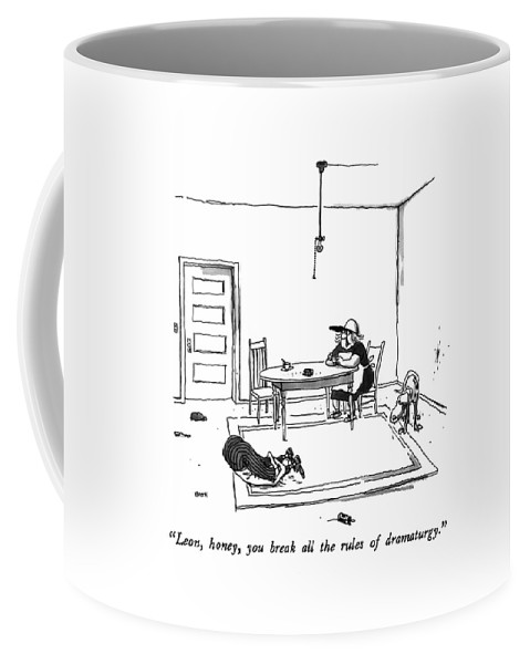 Woman To Man Who Is Contorting Himself Doing Exercises On The Floor.  Entertainment Coffee Mug featuring the drawing Leon, Honey, You Break All The Rules by George Booth