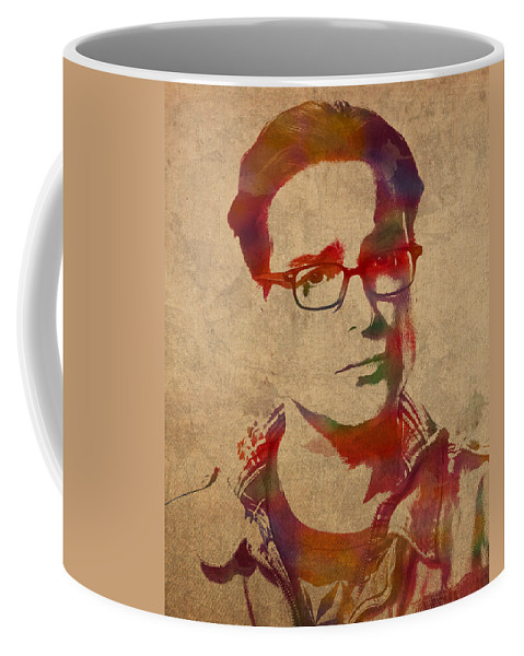Leonard Hofstadter Coffee Mug featuring the mixed media Leonard Hofstadter Watercolor Portrait Big Bang Theory On Distressed Worn Canvas by Design Turnpike