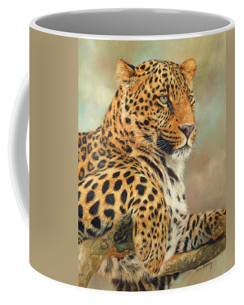 Leopard Coffee Mug featuring the painting Leopard by David Stribbling