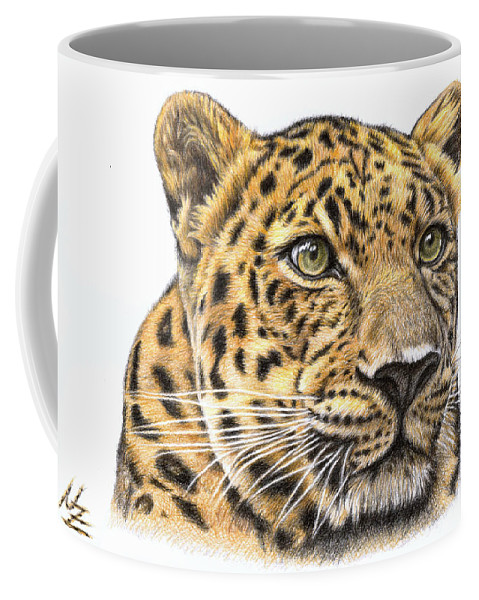 Leopard Coffee Mug featuring the drawing Leopard by Nicole Zeug