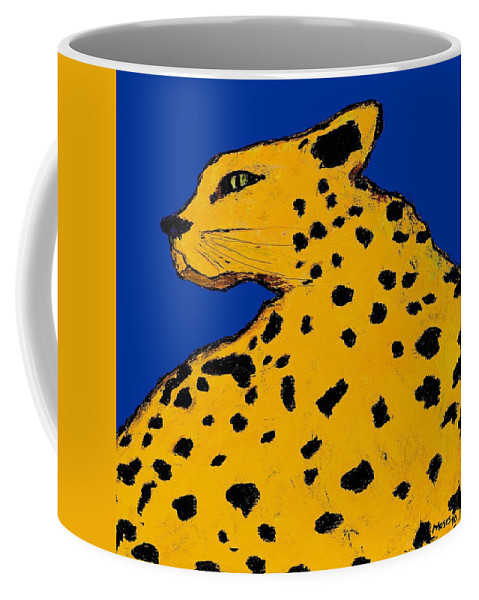 Leopard Coffee Mug featuring the painting Leopard On Blue by Dale Moses