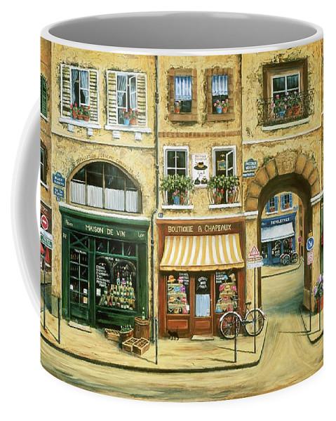Wine Shop Coffee Mug featuring the painting Les Rues de Paris by Marilyn Dunlap