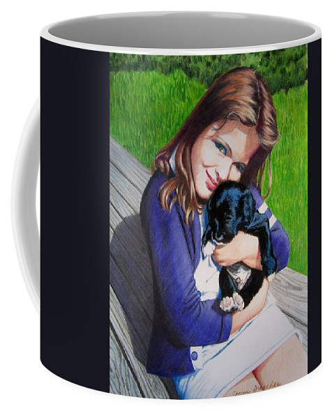 Girl Coffee Mug featuring the mixed media Leslie and Sergeant by Constance Drescher
