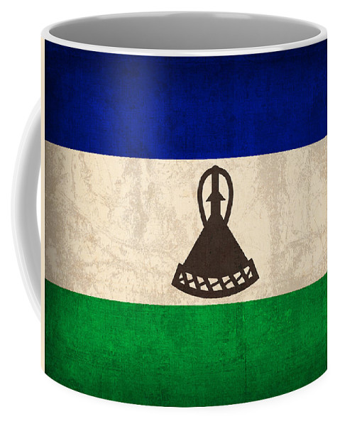 Lesotho Coffee Mug featuring the mixed media Lesotho Flag Vintage Distressed Finish by Design Turnpike