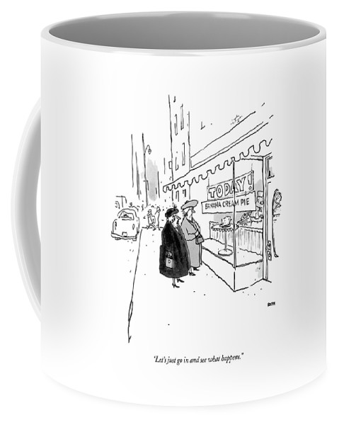10/20 Coffee Mug featuring the drawing Let's Just Go In And See What Happens by George Booth