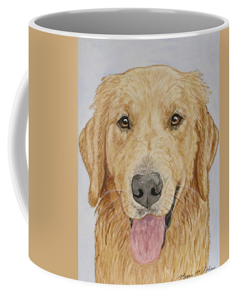Golden Retriever Coffee Mug featuring the painting Let's Play by Megan Cohen