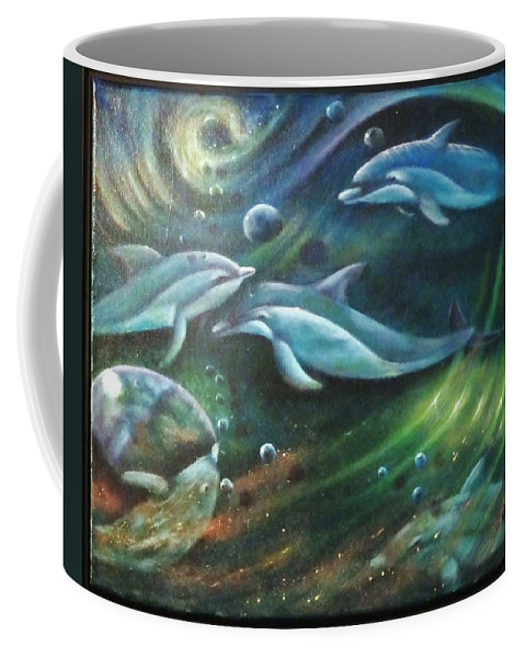 Dolphins Coffee Mug featuring the painting Let's Play by Sherry Strong