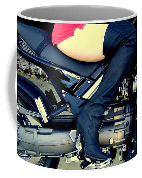Thigh Boot Motorcycle Bike Moto Guzzi Griso Leg Babe Heel Sexy Engine Shorts Coffee Mug featuring the photograph Let's Ride by Guy Pettingell