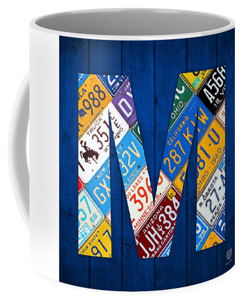 Alphabet Coffee Art Letter M Vintage Mug Plate License JTKcFl1