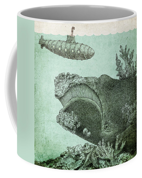 Submarine Coffee Mug featuring the drawing Leviathan by Eric Fan