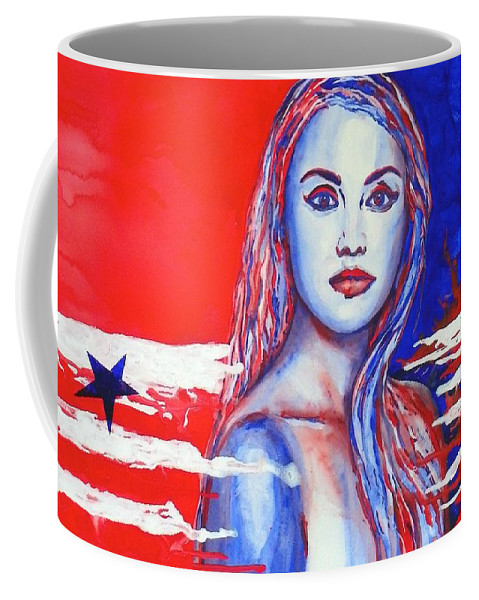 America's Freedom Coffee Mug featuring the painting Liberty American Girl by Anna Ruzsan