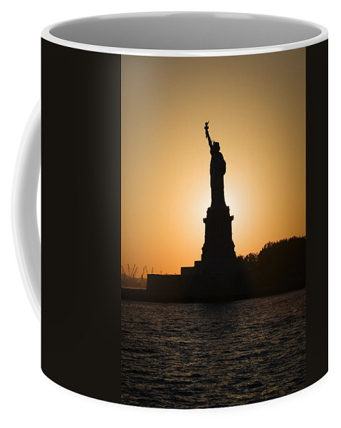 Statue Of Liberty Coffee Mug featuring the photograph Liberty Sunset by Dave Bowman