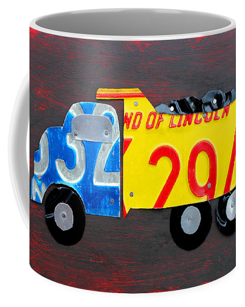 License Plate Art Dump Truck Kids Room Decor Fun Boy Child License Plate Map Coffee Mug featuring the mixed media License Plate Art Dump Truck by Design Turnpike