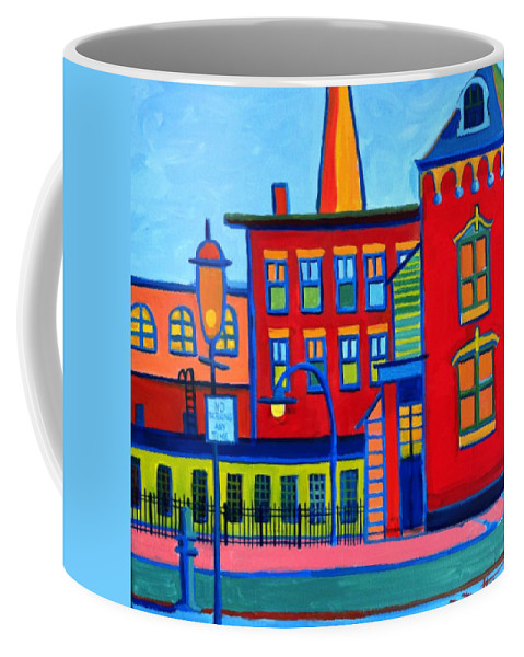 Landscape Coffee Mug featuring the painting Life Revolving in the City Lowell MA by Debra Bretton Robinson