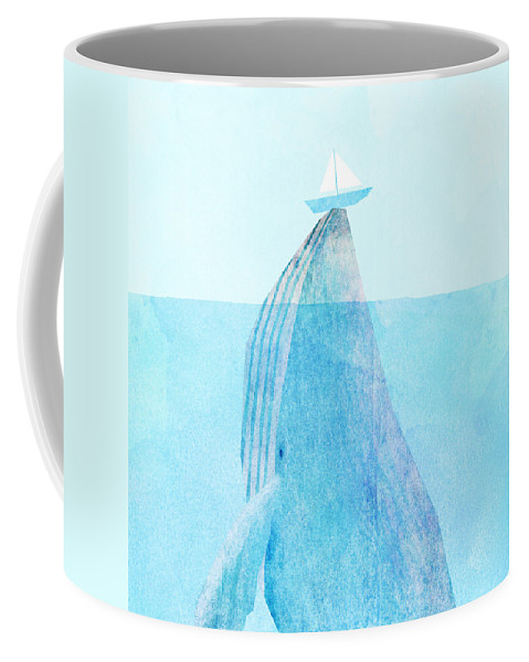 Whale Coffee Mug featuring the drawing Lift by Eric Fan