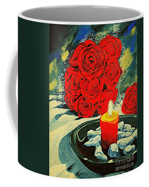 Roses Red Rose Candle Love Deep Red Rose Coffee Mug featuring the painting Light Of Love by Herschel Fall