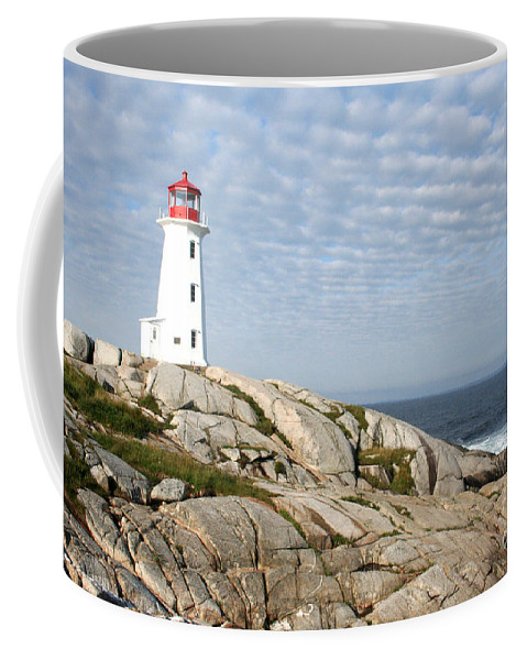 Lighthouse Coffee Mug featuring the photograph Lighthouse At Peggys Point Nova Scotia by Thomas Marchessault