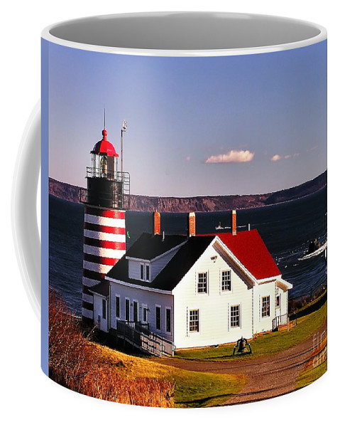 Architecture Coffee Mug featuring the photograph Lighthouse At West Quoddy Head by Nick Zelinsky