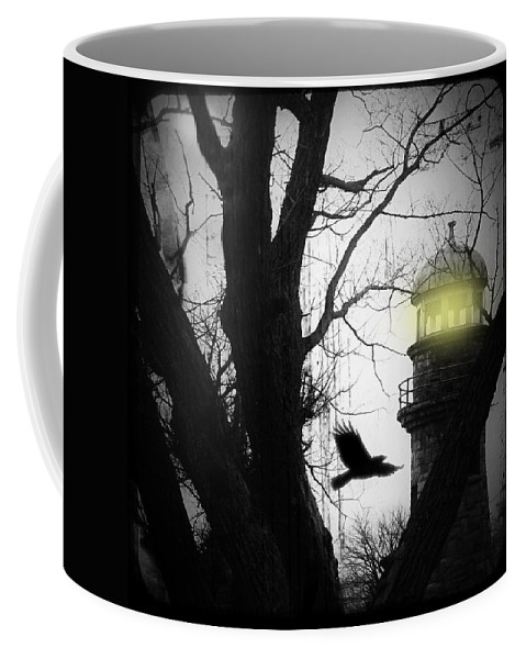 Lighthouse Coffee Mug featuring the photograph The Lighthouse Is Lit by Gothicrow Images