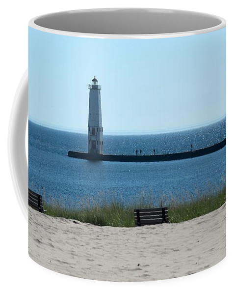 Frankfort Lighthouse Coffee Mug featuring the photograph Lighthouse In Blue by Linda Kerkau