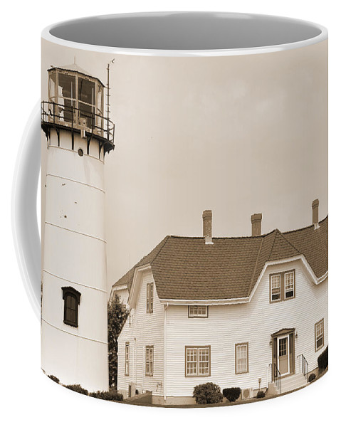 Sepia Coffee Mug featuring the digital art Lighthouse by Kirt Tisdale