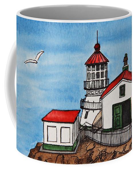 Lighthouse Coffee Mug featuring the painting Lighthouse by Masha Batkova