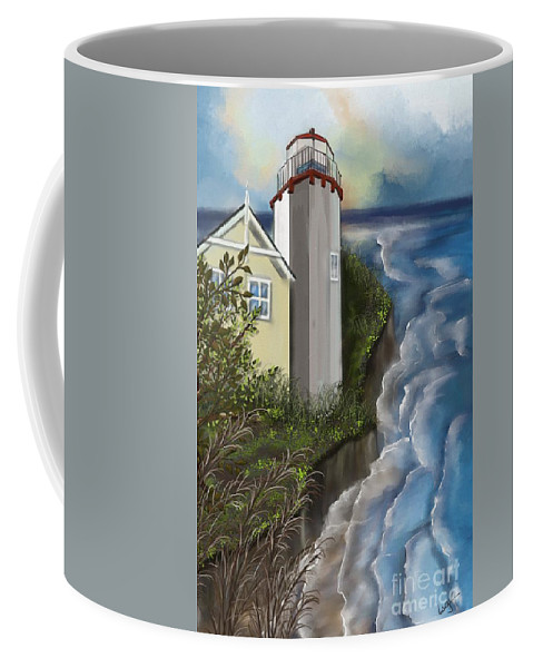 Landscape Coffee Mug featuring the painting Lighthouse by Nancy Long