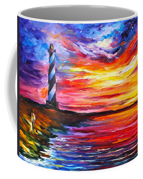 Water Coffee Mug featuring the painting Lighthouse - New by Leonid Afremov