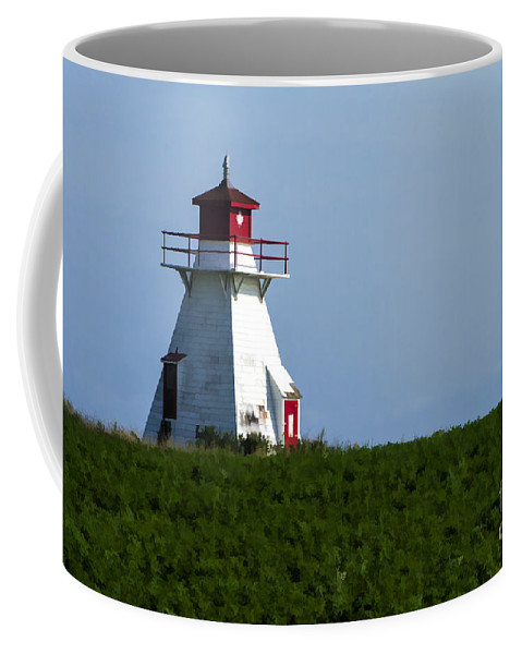 Lighthouse Coffee Mug featuring the photograph Lighthouse Prince Edward Island by Edward Fielding