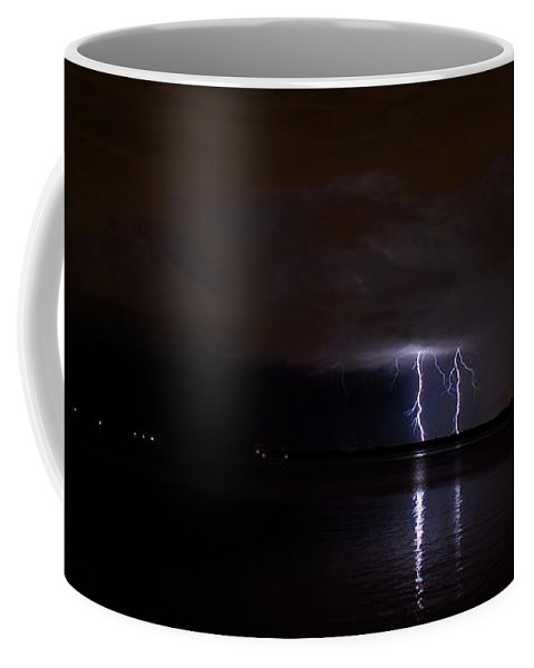 Powerful Coffee Mug featuring the photograph Lighting The Night by Quinn Sedam