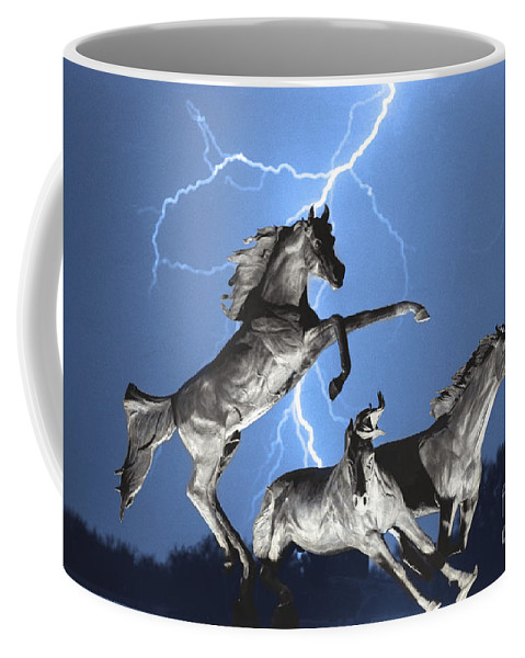 Coffee Mug featuring the photograph Lightning At Horse World Bw Color Print by James BO Insogna