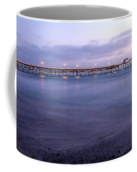 Lights On The Pier Coffee Mug featuring the photograph Lights On The Pier by Richard Cheski