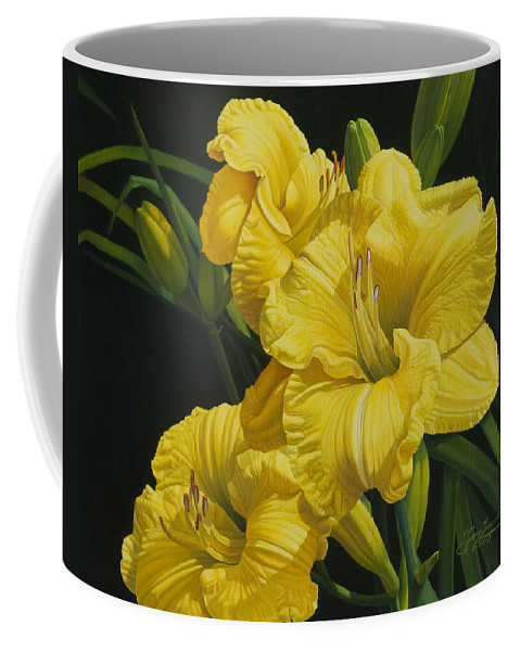 Floral Coffee Mug featuring the painting Lilies for Olivia Rose by Gary Hernandez